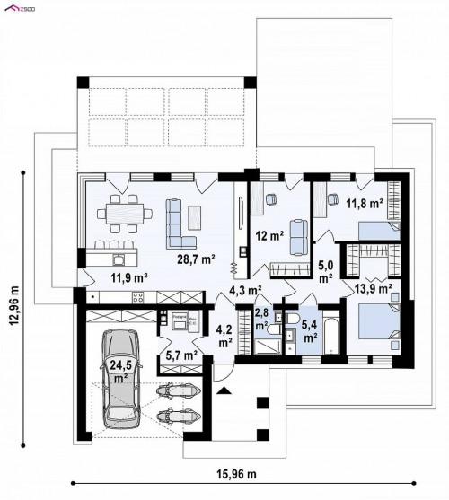 Z384 - Компактный одноэтажный коттедж с гаражом для одной машины