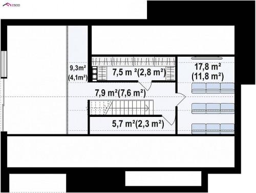 Z386 - Одноэтажный дом с дополнительным пространством на чердаке