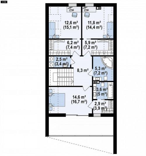 Z393 - Современный мансардный коттедж для узкого участка