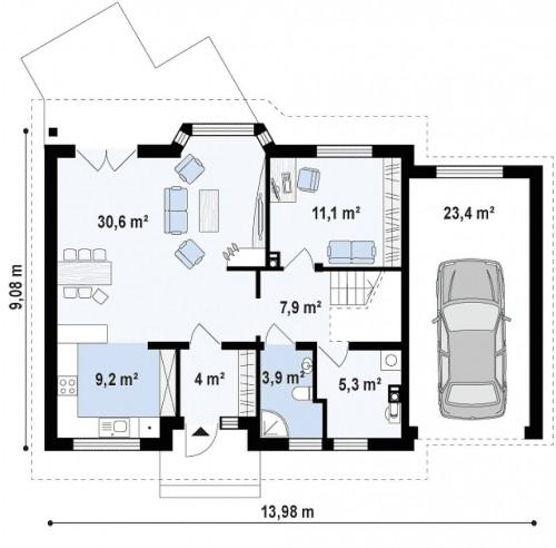 Z40 GP - Уютный мансардный коттедж с гаражом с правой стороны
