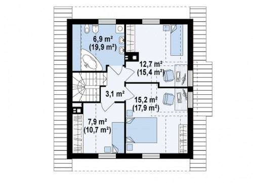 Z44 - Проект компактного и функционального дома с кабинетом на первом этаже.