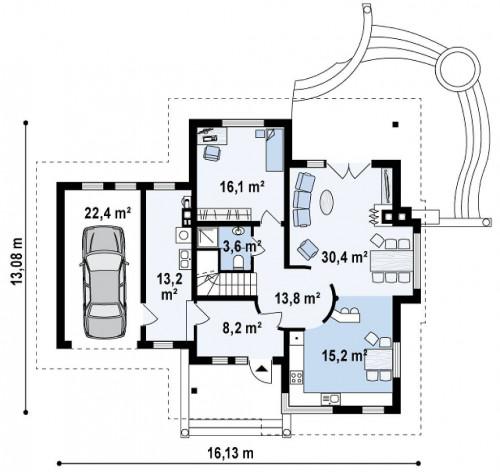 Z48 - Просторный функциональный дом сложной формы.