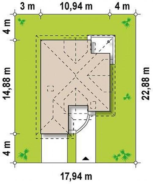 Z49 - Проект дома с мансардой, с большим техническим помещением и дополнительной спальней на первом этаже.