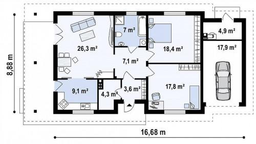 Z55 GP - Уютный одноэтажный дом с гаражом на одну машину