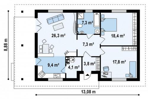Z55 dk - Каркасный одноэтажный дом, подходящий как для сезонного так и для постоянного проживания