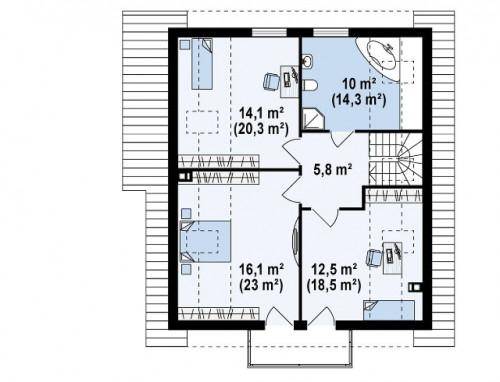 Z63 - Экономичный в строительстве дом с дополнительной спальней на первом этаже.