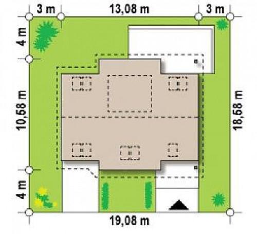 Z68 - Проект функционального дома с современным мансардным окном, с дополнительной спальней на первом этаже.
