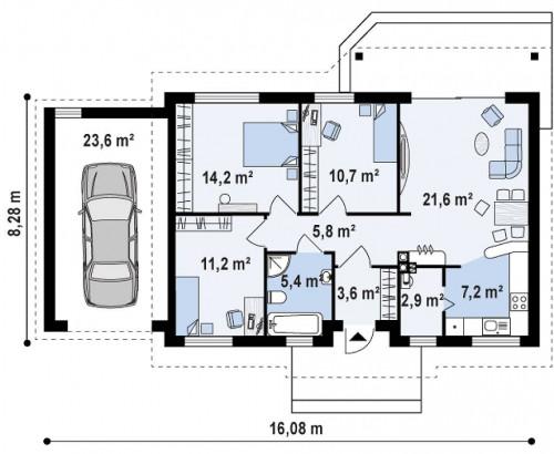 Z7 L GL -  Проект Z7 с гаражом с левой стороны и измененной планировкой.
