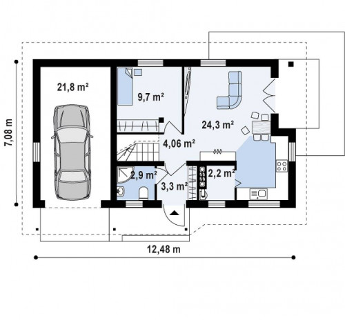 Z71 GL - Версия проекта дома Z71 с гаражом, пристроенным слева.