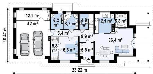 Z74 - Просторная итальянская двухэтажная вилла с крытой боковой террасой и большим гаражом.
