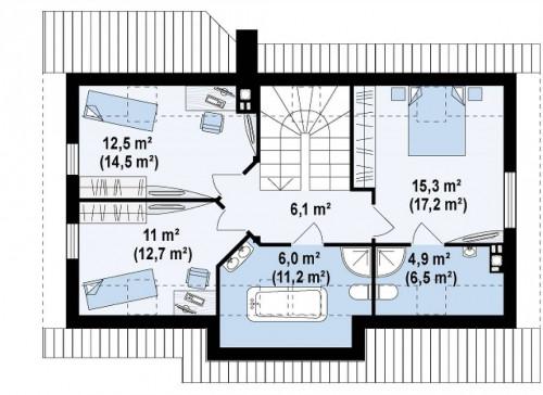 Z79 - Традиционный дом простой формы с двускатной крышей, с дополнительной комнатой на первом этаже.