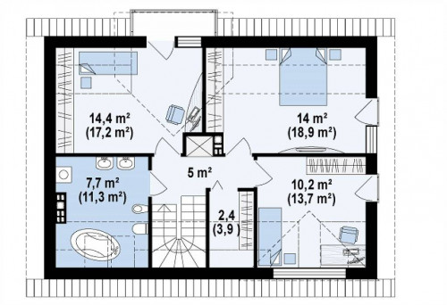 Z89 - Традиционный дом с современными элементами архитектуры.
