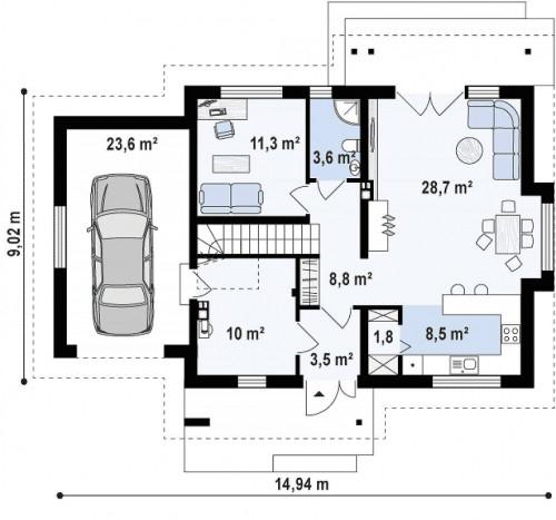 Z92 GL - Версия проекта Z92 c гаражом, пристроенным слева и дополнительным помещением над ним