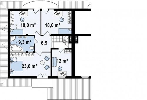 Zb1 - Проект домов близнецов с гаражом и дополнительным помещением на чердаке.