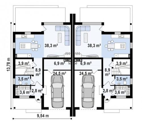 Zb15 - Проект домов близнецов для двух дружественных семей.