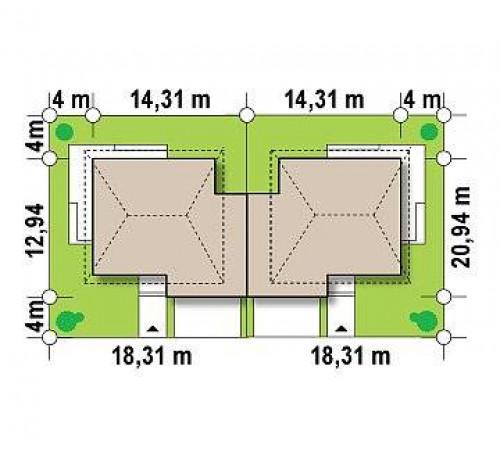 Zb2 - Проект просторного двухэтажного дома для симметричной застройки с террасой над гаражом.