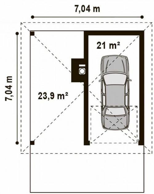 Zg14 - Проект гаража для одного автомобиля, для коттеджей традиционного дизайна