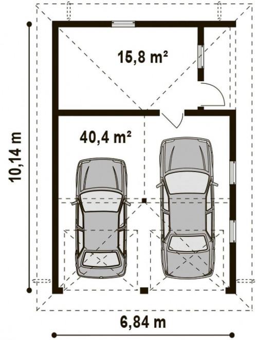 Zg19 - Проект гаража для двух автомобилей для дома в классическом стиле