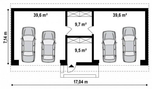 Zg27 - Большой стильный гараж для 4х автомобилей