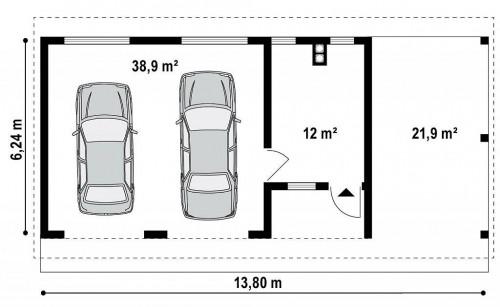 Zg4 - Гараж на 2 машины с двухскатной крышей