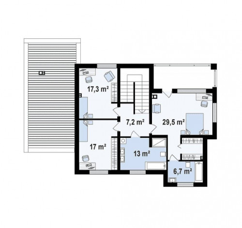 Zx109 - Проект дома с сауной в традиционном стиле