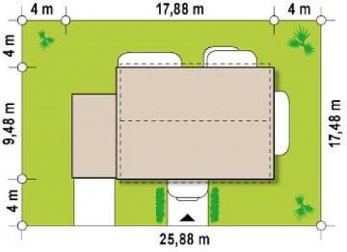 Zx11 GL - Вариант проекта Zx11 c гаражом на одну машину с левой стороны.