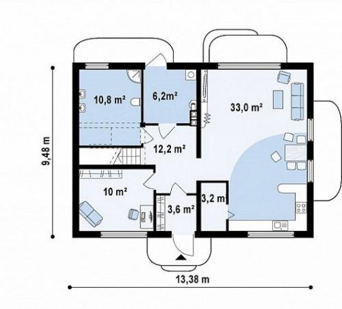 Zx11 v3 - Одна из версий проекта компактного двухэтажного дома zx11