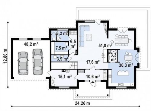 Zx113 - Двухэтажная вилла с гаражом, c балконом над входом.