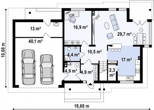 Zx12 GL2 - Версия проекта Zx12 с гаражом для двух машин.