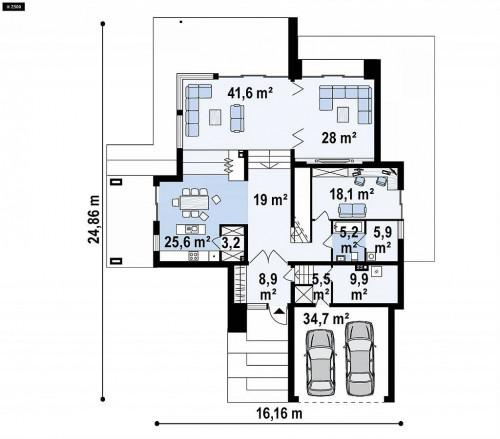 Zx125 - Просторный коттедж с цокольным этажом,  подойдет для участка со склоном