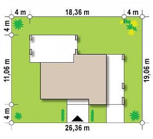 Zx150 - Проект современного одноэтажного дома с черно-белыми фасадами и открытым гаражом на 2 машины