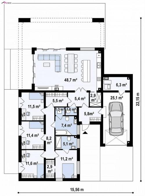 Zx185 - Проект стильного одноэтажного дома в современном стиле
