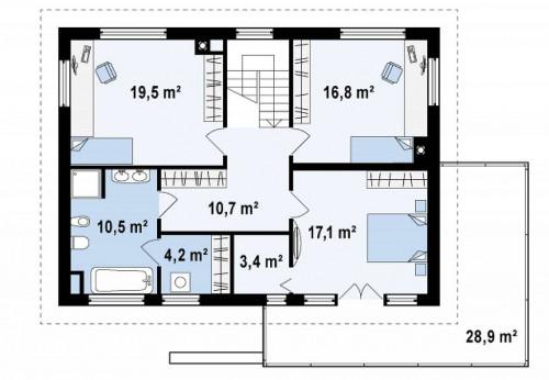 Zx26 - Практичный двухэтажный дом простой формы  с низкой крышей, с гаражом для двух автомобилей.