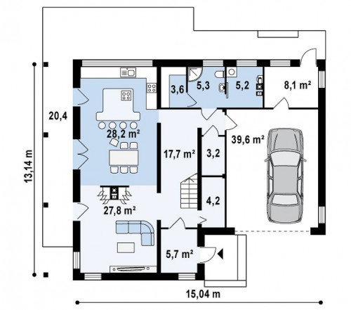 Zx3 - Оригинальный дом в современном стиле с обширной террасой над гаражом.