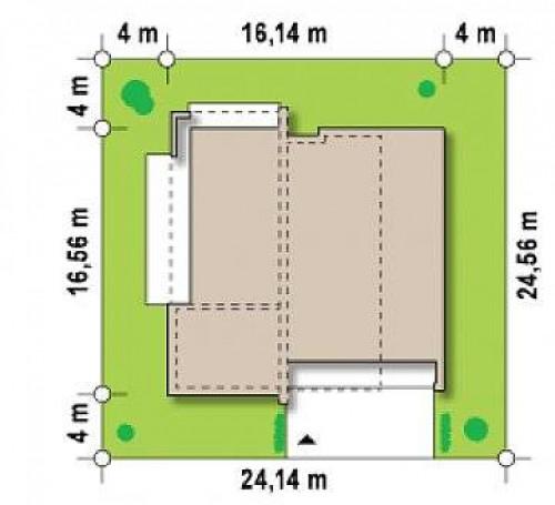 Zx49 GP2 - Подвариант одноэтажного дома Zx49 с гаражом для двух машин.