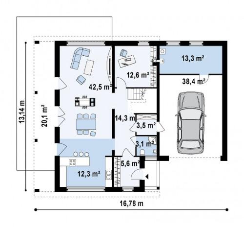Zx5 - Практичный двухэтажный дом в современном стиле с обширной террасой над гаражом.