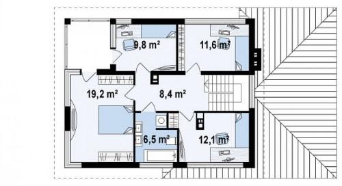Zx8 - Двухэтажный современный дом с многоскатной низкой крышей, с гостиной с фронтальной стороны.