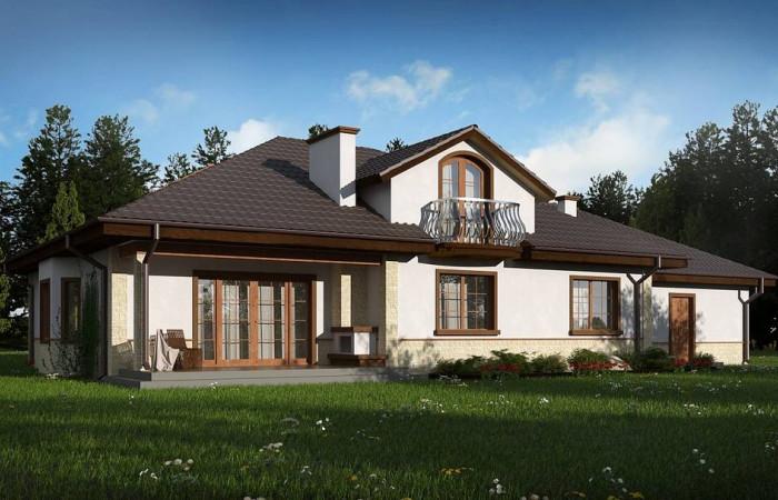 Z10 GL2 STU bk - Версия проекта Z10 с гаражом с левой стороны, мансардой и балконом.