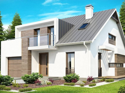 Z116 - Стильный комфортный дом современного дизайна со встроенным гаражом.