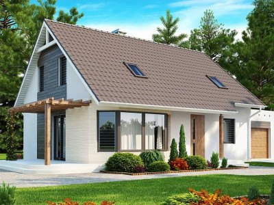 Z117 - Проект дома с гостиной со стороны входа, боковой террасой  и дополнительной спальней на первом этаже.
