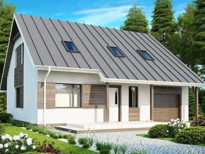 Z119 - Практичный аккуратный дом с мансардой, со встроенным гаражом для одной машины.