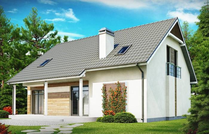 Z129 - Простой и экономичный в строительстве дом со встроенным гаражом, с эркером в столовой и балконом.