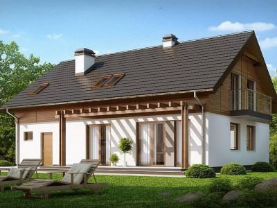 Z130 - Проект дома с мансардой и встроенным гаражом.