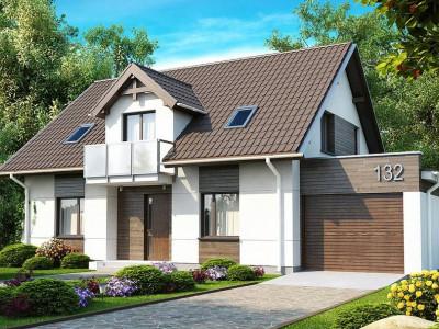 Z132 - Стильный комфортный дом с гаражом и оригинальным мансардным окном.