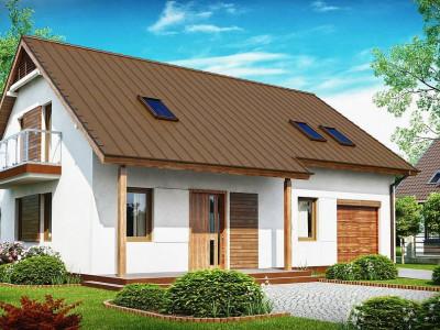 Z133 - Практичный дом с мансардой, встроенным гаражом и дополнительной спальней на первом этаже.