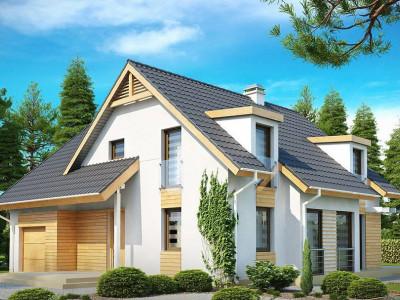 Z135 - Проект комфортного дома с мансардными окнами, с фронтальным гаражом на одну машину.