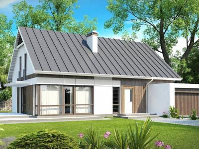 Z142 - Комфортный дом с мансардой, с гостиной во фронтальной части дома и гаражом на две машины.