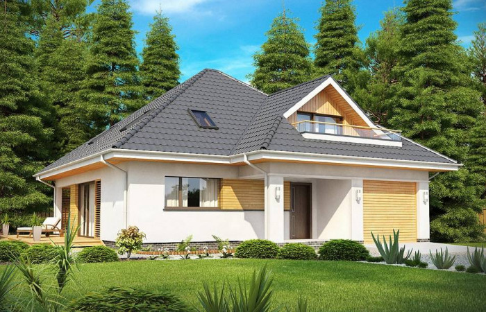 Z143 - Красивый и функциональный дом с боковой террасой и необычным мансардным окном.