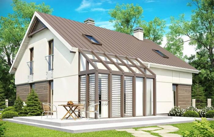 Z148 - Проект дома с мансардой, с дополнительной спальней на первом этаже и с застекленной террасой.