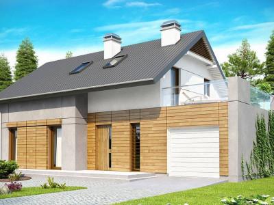 Z149 - Удобный функциональный дом с террасой над гаражом, с современными элементами архитектуры.